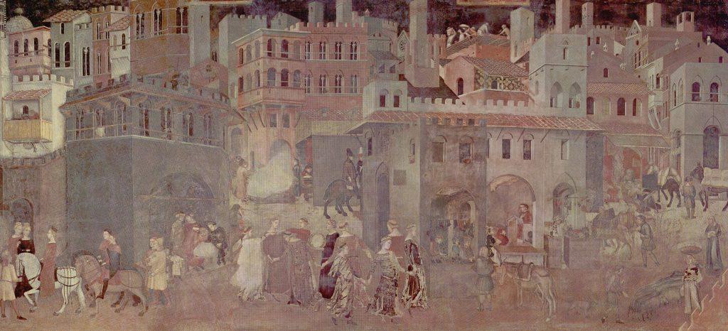 Extrait de la fresque Les Effets du Bon Gouvernement en Ville par Ambrogio Lorenzetti (1337-1339) Palais Communal de Sienne, Italie. Die Entstehung des Bürgertums