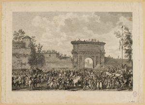 Révolution française. Campagnes d'Italie. Consulat : 25 Floréal An IV (14 mai 1796). Entrée de Masséna et de ses troupes à Milan. 5ème tableau des Tableaux historiques des Campagnes d'Italie.(TF)